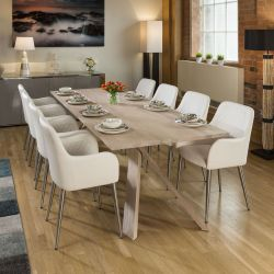 Mercury Huge Solid Oak Dining Table 2600x1000mm +8 White Carver Chairs