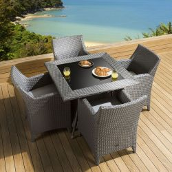 Rattan Patio Dining Set Square Table 4 Chairs Grey Silver Cushion New