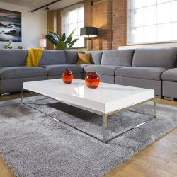 Stainless Steel Framed 1500 x 800 Coffee Table White Gloss Wood Top