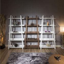 Set of 3 Tall Display Cabinets / Shelving / Bookcases White / Walnut