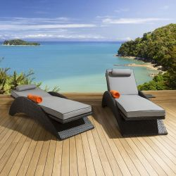 Garden Set 2 x Lounger Sunbed with Retractable side table Black Grey