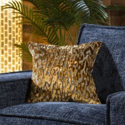 Contemporary Gold Velvet Tiger Print Scatter Cushion Pillow 430 Square
