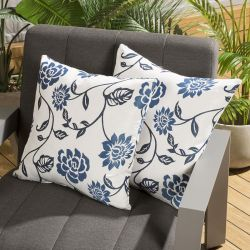 Pair of Luxury 450mm Outdoor Scatter Cushion Blue Floral