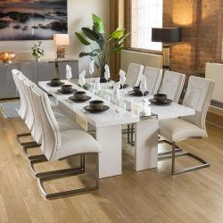 Luxury White / Glass Dining Table Set + 8 Padded White Chairs 4111
