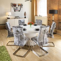 Round White Lazy Susan Dining Table 1.4 + 6 Silver Velvet Chairs
