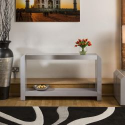 Occasional / Console / Hall Table Grey Gloss / Glass Top Alum Trim 01