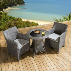 Rattan Garden Dining Set Round Table 2 Chairs Grey Silver Cushion New