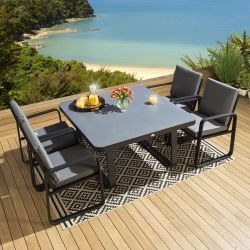 Outdoor Square Ceramic Dining Set Table 4 Chairs Black Alum Grey Fabric