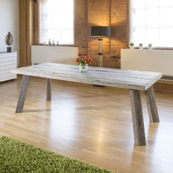 Massive 2.4 x 1m Aged Oak Rectangular Dining Table Grey Top and Legs