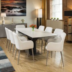 Extending Dining Table White Marble Ceramic + 8 x White Carver Chairs
