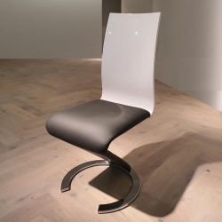 Set of 6 Luxury 'Z' Dining Chairs White back Grey PU