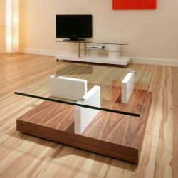 ExDisplay 1 Meter Square Coffee Table Glass , Walnut , White Gloss .