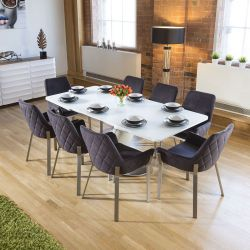 Dining Set White Glass Top Extending Table + 8 Dark Grey Carver Chairs
