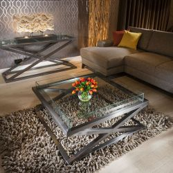 Premium Modern Large Square Coffee Table Glass Top Stainless Hattie 25