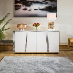 Luxury 1600mm White Sideboard Glass Top Stainless Frame No Assy V
