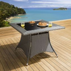 Luxury Garden / Outdoor Square Dining Table in Grey 1000mm Glass Top
