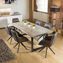 Rectangle Dining Table 220 Grey Solid Oak 6x Brown Swivel Carver Chair