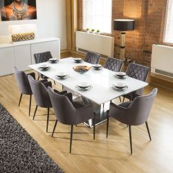 Huge 8 Seater Dining Set 2.2mt White Glass Top Table 8 Carver Grey Chairs