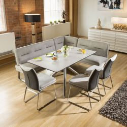 Luxury 8 seater Grey Booth Left Hand Corner L Bench Chair Dining Set 4