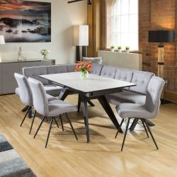 Dining Table Concrete Melamine Extends +3 Grey Chairs & Corner Bench R
