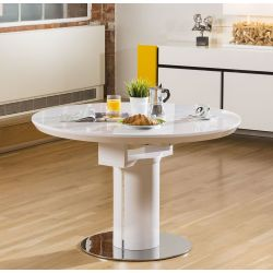 Modern Dining Table White Gloss Round / Oval Extending 1050-1350mm New