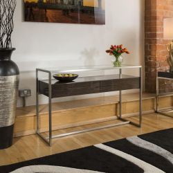 Console / Hall Table Glass top Smoked Oak Drawer Brushed Steel Frame