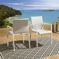 Set of 2 Luxury Outdoor Garden Stackable Dining Chairs White Grey Stripe