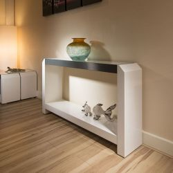 Occasional / Console / Hall Table White Gloss / Glass Top Alum Trim 01