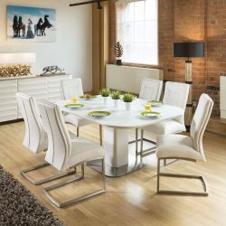 Stunning Dining Set White Glass Square Extending Table +6 Chairs 4110