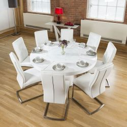 Large Round White Gloss Dining Table Lazy Susan, 8 White Chairs 4110