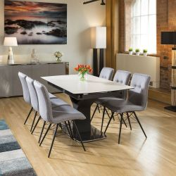 Huge Extending Dining Table White Marble Ceramic +6 Grey Fabric Chairs