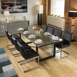Neptune Solid Oak Glass Top Dining Table 2.2x1m + 8 Sleek Black Chairs