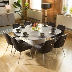 Huge Grey Square Glass Top Dining Set With 8 x Charcoal Velvet Chairs