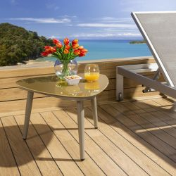 Luxury Outdoor Garden Side Table Aluminium With Glass Top Brown