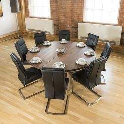 Large Round 1.8m Brown Oak Dining Table + 8 Deep Vintage Black Chairs