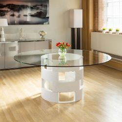 Modern Funky Large Round White Oak and Clear Glass Dining Table 1800mm