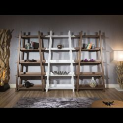 Set of 3 Tall Display Cabinets / Shelving / Bookcases Walnut / White