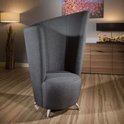 Modern Large 1400mm High Curved Grey Fabric Armchair/Tub/Reading Chair