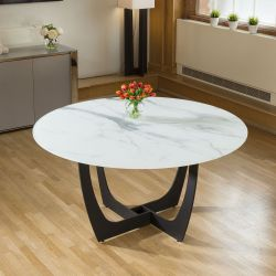 Modern Funky 1500mm Round White Glass Dining Table With Marble Effect