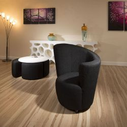 Modern Large Curved Black Fabric Armchair/Armchairs/Tub Chair/Chairs