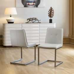Set of 2 Ultra Modern Low Back Faux Leather Dining Chairs in Ice Gey