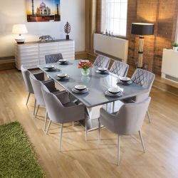 Large 8 Seat Grey Glass Top Dining Table 2.2m +8 Grey Carver Chairs