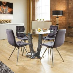 Round Glass Top Dining Set Grey Table Base 4 Grey Chairs