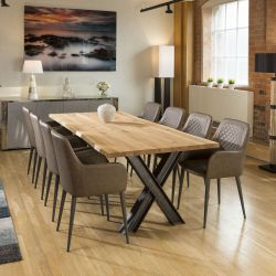 Venus Solid Natural Oak Dining Table 2400x1000mm +8 Brown Carver Chair