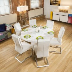 Large 1.4m Round White Gloss Dining Table & 6 White Cushioned Chairs