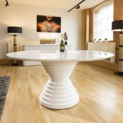 Large Round Lacquered White Gloss Dining Table Glass Insert 1.8m