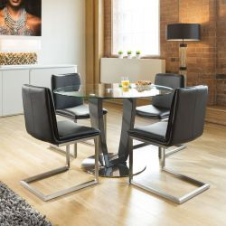 Round Glass Top Dining Set Grey Table Base 4 Low Back Black Chairs
