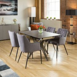 Extending Dining Table Charcaol Grey Ceramic + 4 x Grey Carver Chairs