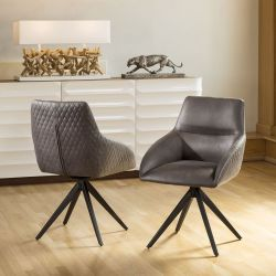Quatropi Set of 2 Luxury Swivel Carver Dining Chairs in Bronze Brown