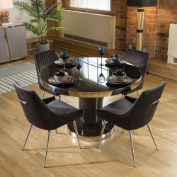 Round 1200 Smoked Oak Dining Set +  4 Charcoal Velvet Chairs